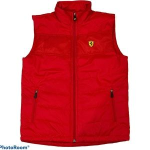 Ferrari Youth Red Puffer Vest w/Logo Size YLG
